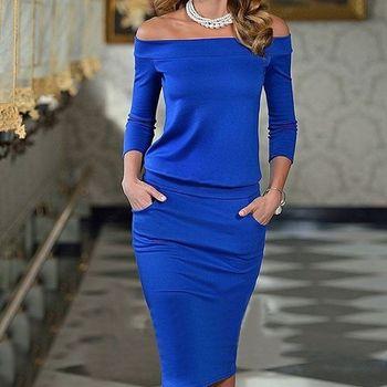 Women Club Bodycon Dress 2018 New Style Long Sleeve Slash Neck Sexy Night Club Wear Black Blue Celebrity Party Dresses XL plain slash neck flare sleeve bodycon dress