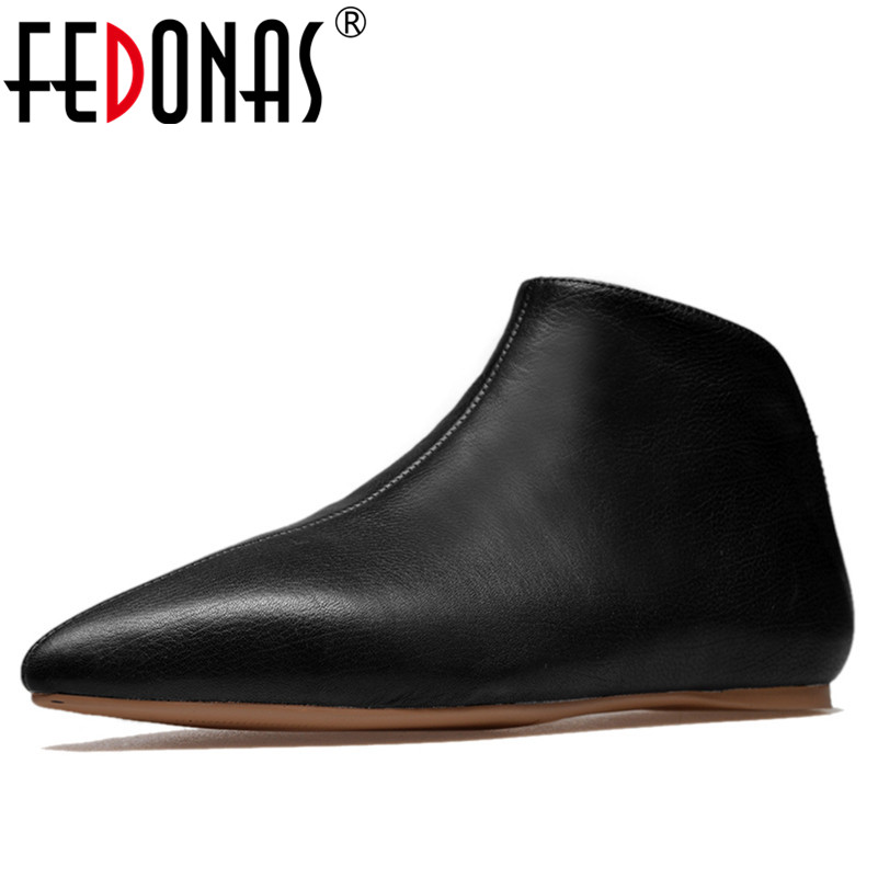 FEDONAS New Genuine Leather Flat Shoes Woman Hand sewn Leather Loafers Cowhide Spring Autumn Casual Shoes Women Flats Shoes