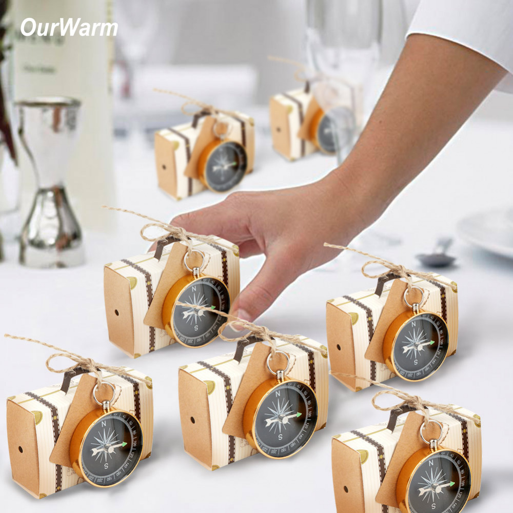 Ourwarm 50pcs Wedding Favors Karft Paper Candy Gift Box Compass With Tag Wedding Gift For Guest Souvenir Birth Party Decoration image