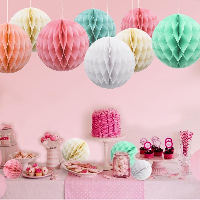 5/10/15cm 5Pcs 31 Color Decorative Flower Paper Lantern Honeycomb Ball For Wedding Party Kid Birthday Decoration Babyshower 8z(China)