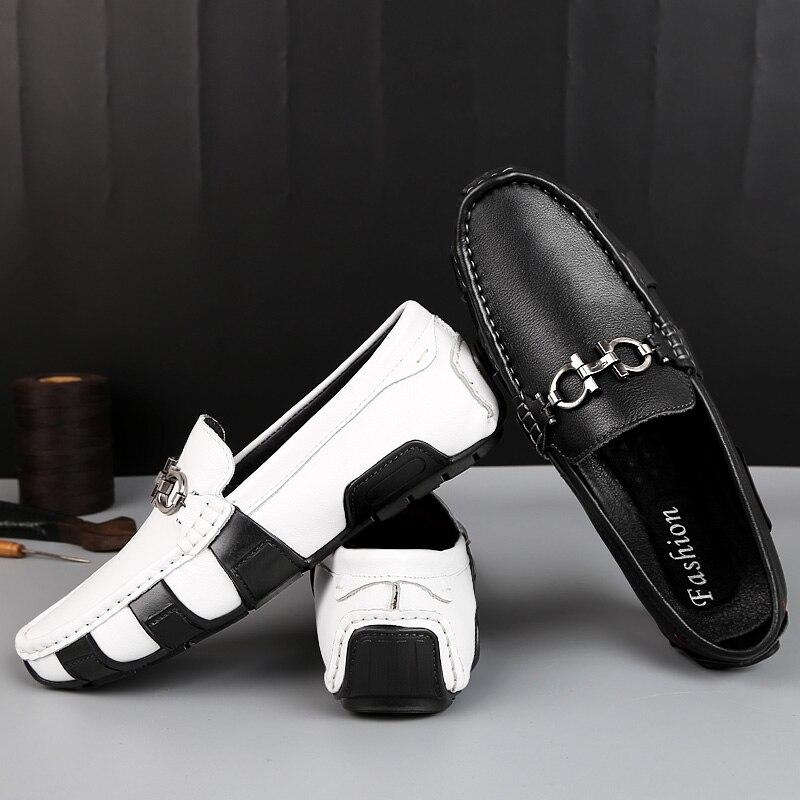 Confortable Hommes Mocassins Noir Sapato Souple blanc Nouveautés En Slip Lumière sur Conduite Mycolen Cuir Masculino Appartements 5XAqpg