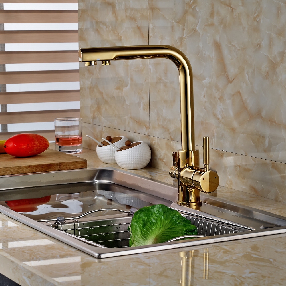 Wholesale And Retail Golden Finish Brass Kitchen Faucet Dual Holder Single Hole Vanity Sink Mixer Pure Water Tap Swivel Spout swanstone dual mount composite 33x22x10 1 hole single bowl kitchen sink in tahiti ivory tahiti ivory