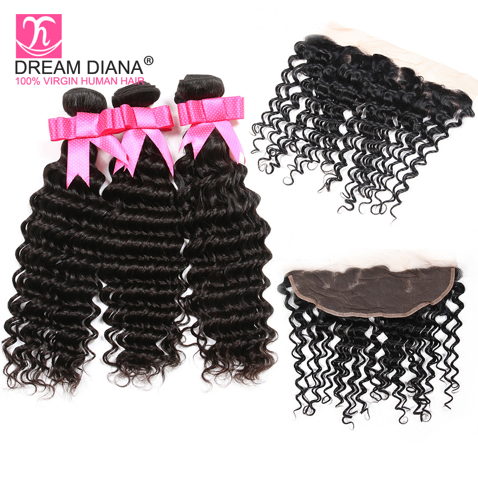 DreamDiana Indian Deep Wave With Frontal Remy Weave Bundles With Lace Frontal Natural Color Pre Plucked Frontal With Hair Bundle