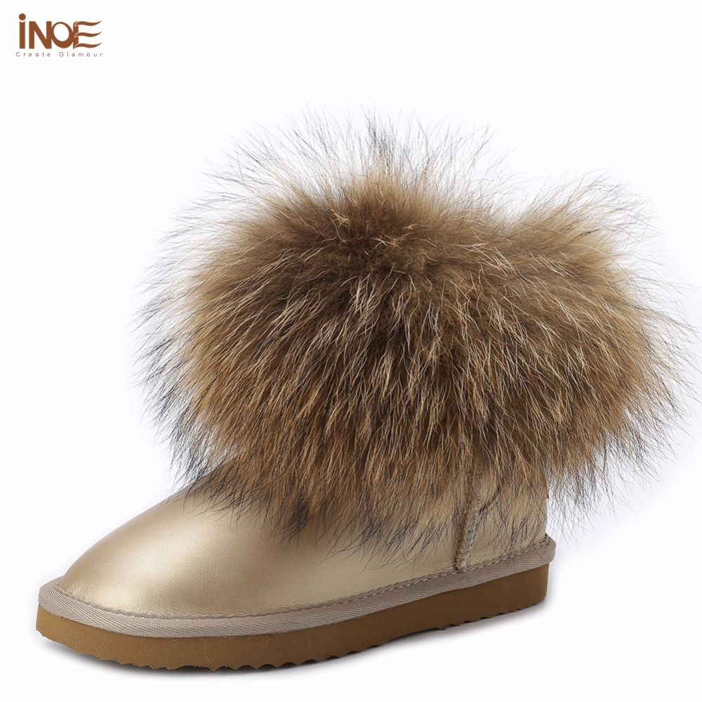 ФОТО INOE classic style cow split leather big fox fur short ankle girls winter snow boots for women winter shoes waterproof flats