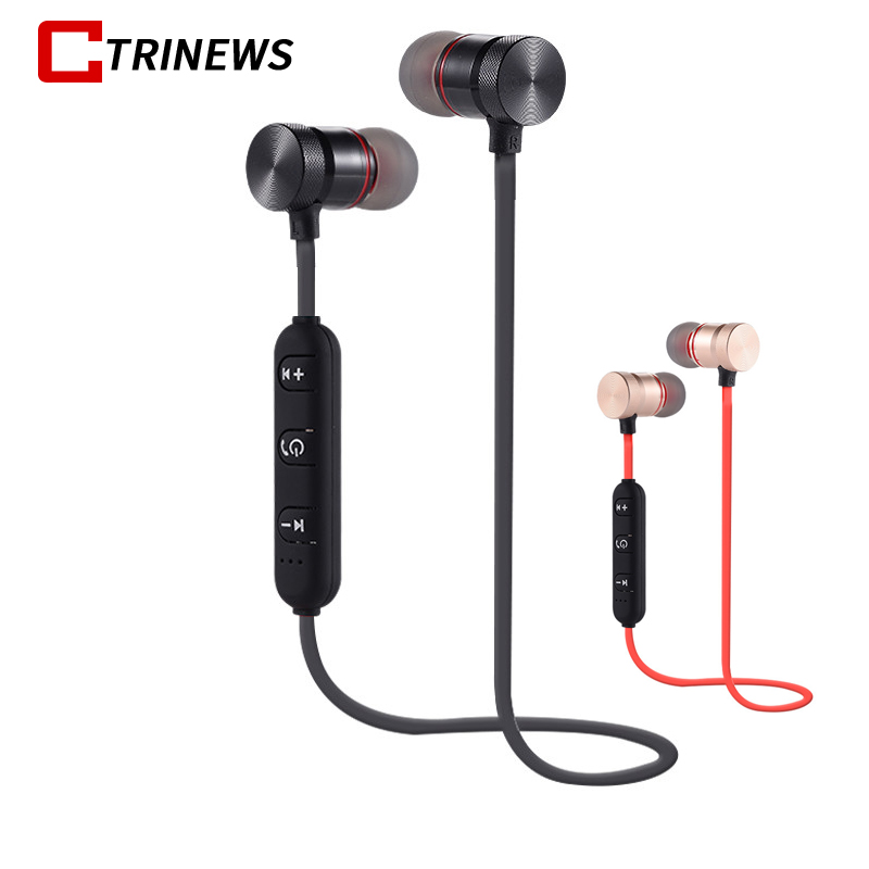 CTRINEWS Bluetooth Earphone With Mic Sport Wireless Headphone Stereo Bass Headset Magnetic Earpiece For iPhone Xiaomi MP3 Music fineblue f v2 bluetooth stereo headset bt4 0 voice prompt wireless music earphone earpiece cable with clip for oppo for iphone