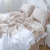 Sarga de algodón 100% princesa coreana volantes hechizo de color caqui blanco encaje falda de la cama ropa de cama doble reina completa king size envío libre