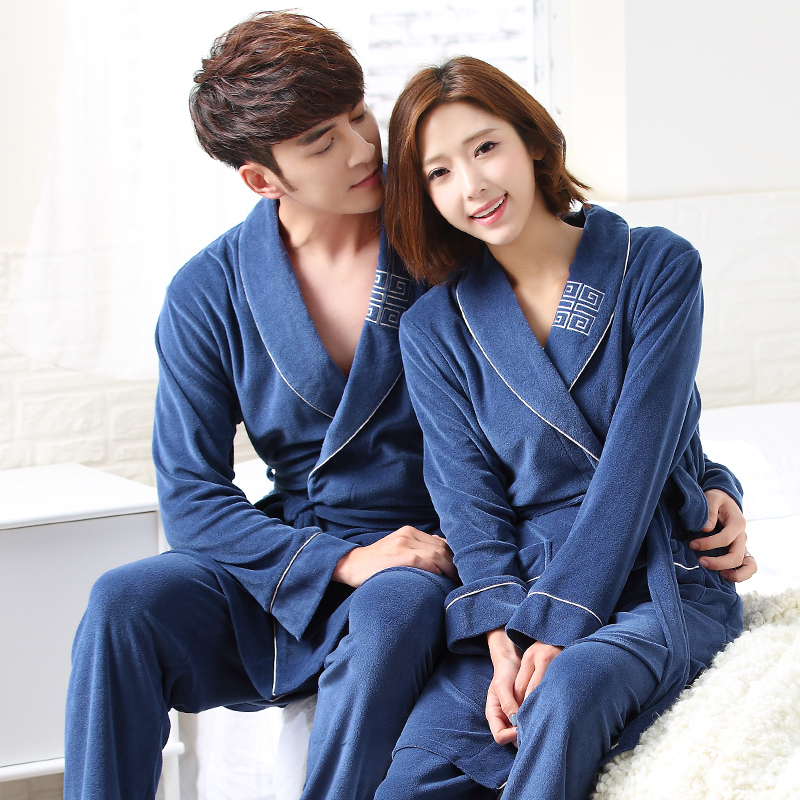 Robe Pants 2PC 100 Cotton Couples bathrobe sexy bathrobe spring autumn thickening terry women spas robe