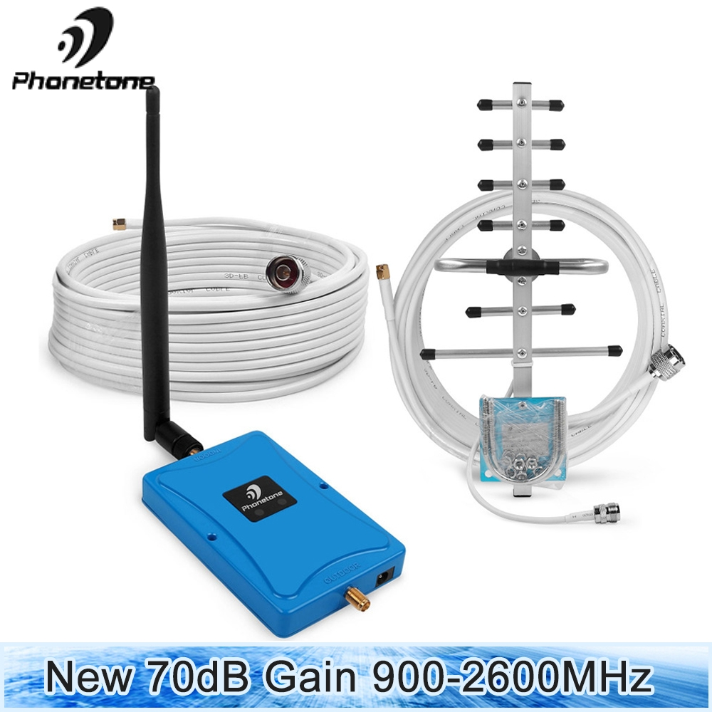 2G 4G GSM 900 FDD LTE 2600 Cell Phone Signal Booster 4G LTE 2600 Repeater 70dB Dual Band 8/7 900 2600MHz Cell Phone 2600 Booster