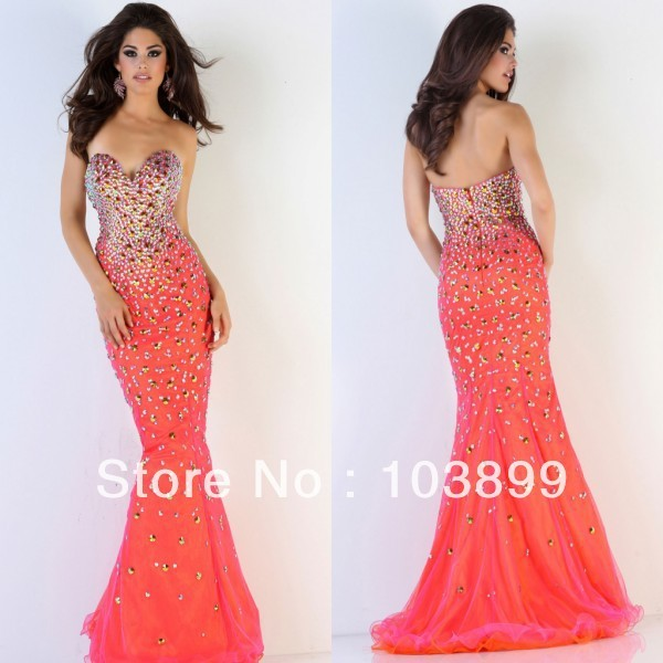 4f326c72c9bf Stunning Sweetheart Corset Bodice Bright Orange Floor Length Organza Mermaid  Crystals Prom Dresses Top 2014