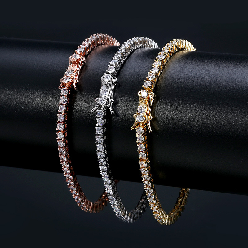3 Colors Hip Hop Punk Iced Out Micro Pave Cubic Zirconia Charm Tennis Chain 3mm Bracelet Femme Erkek Bileklik 7 8 Inch