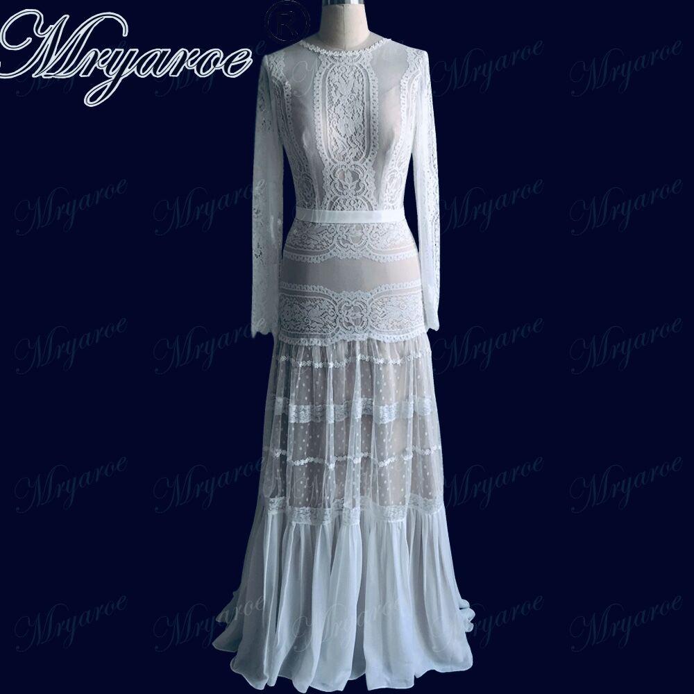 Mryarce 2019 Chic Wedding Dresses Unique Lace Charming Polka Dots long Sleeve Wedding Dress Bohemian Bridal