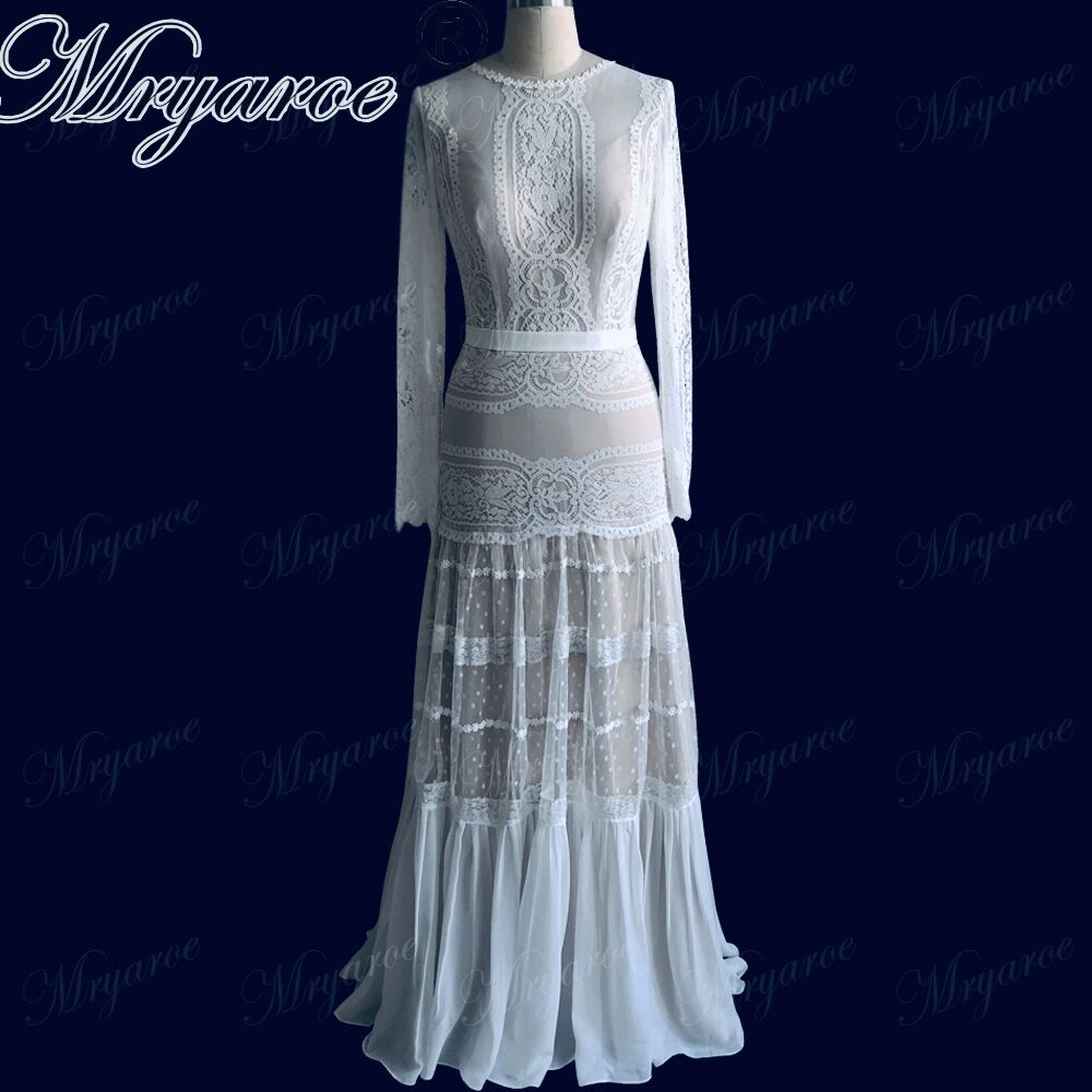 Mryarce 2019 Chic Wedding Dresses Unique Lace Charming Polka Dots Long Sleeve Wedding Dress Bohemian Bridal Gowns