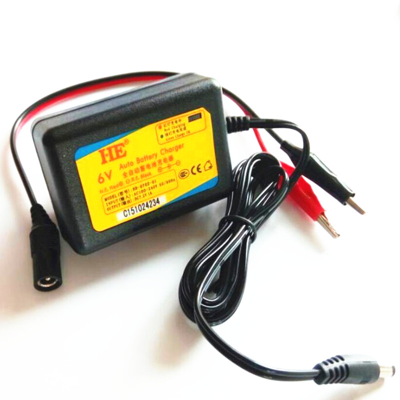 Portable smart charger 6v lead acid battery charger agm vrla battery electric toy car charger dc7.2v 1a with 3.5mm and 2*clip