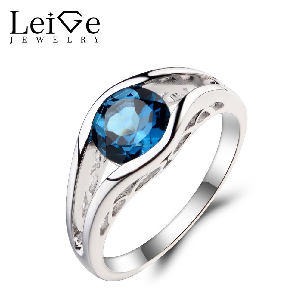 9113c7b4adf3a Leige Jewelry Round Cut Gemstone London Blue Topaz Ring Wedding Ring  November Birthstone 925 Sterling Silver Ring for Women