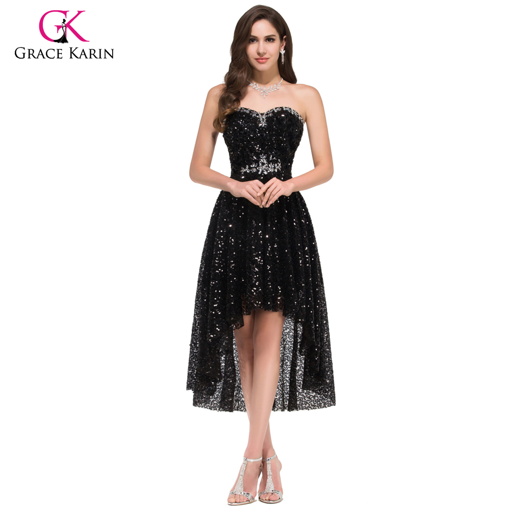 Grace Karin High Low Black Prom Dresses 2018 Short Front ...