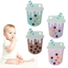 цена Ice Cream Silicone Teethers Baby Teether Ring Teething Pendant Necklace DIY Baby Chew Toy Infant Gift в интернет-магазинах