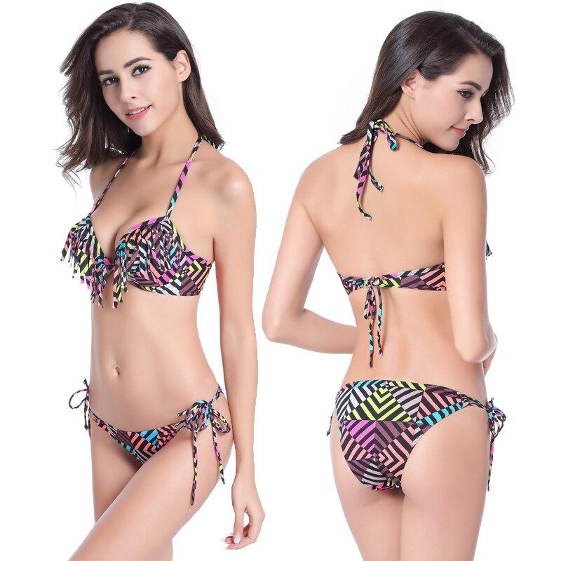 2016 sexy Bikini Color column camouflage flounce wimwear Women Swimwear underwire Swimsuit Bathing Suits Swim Suits
