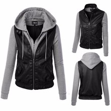 2016 spring female new pacthwork hooded fight skin jacket / women's casual pu coat jackets women jacket HB088