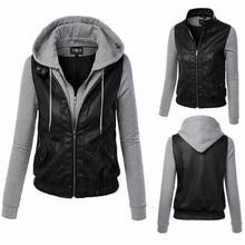 2016 spring female new pacthwork hooded fight skin jacket / women's casual pu coat jackets women jacket HB088