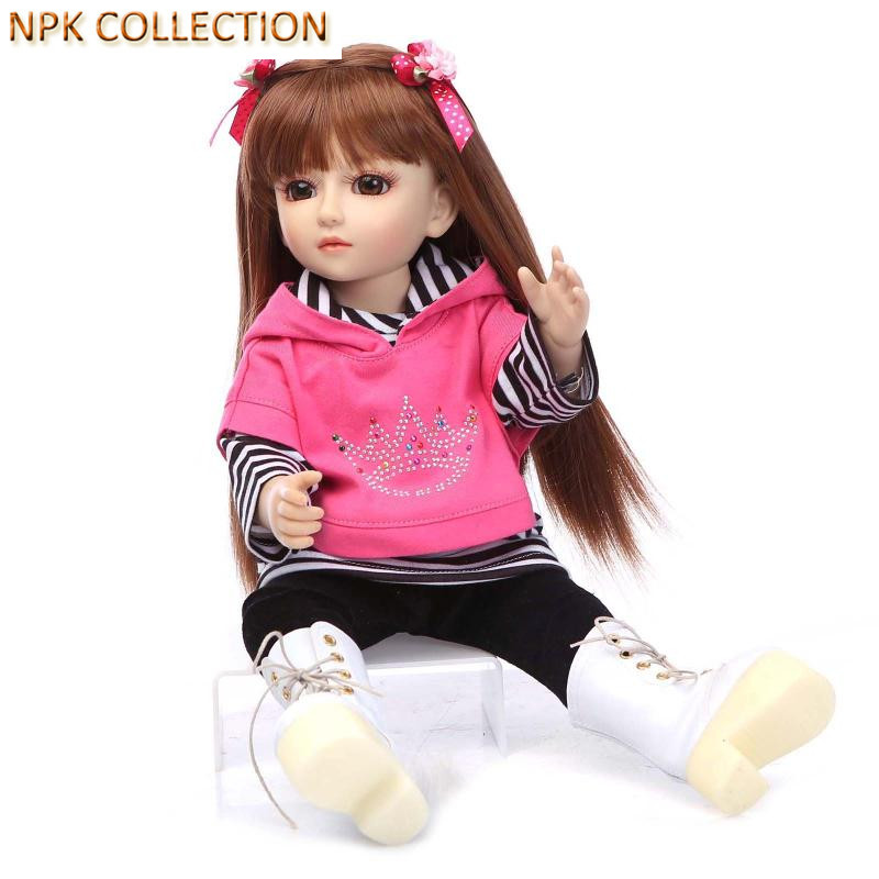 NPK COLLECTION Handmade BJD Doll 18 Inch Girl Doll Include Clothes Shoes,Plastic Baby Princess Doll Plaything Toy for Children hot newest 18 inch handmade vinyl doll bjd doll with dress beautiful princess doll toy for children christmas gift