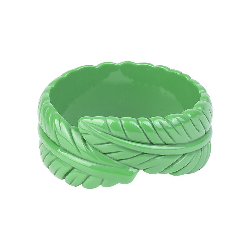 GuanLong Koleksi Resin Diukir Daun Gelang Gelang 2018 Musim Semi Fashion Week Trendy Bangle Pulseira Perhiasan