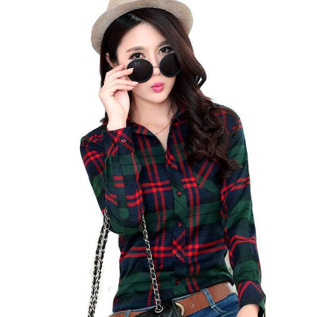 2016 Spring Women's Plaid Shirt Plus Size Blusas Blouses Females Fashion Cotton Brushed Casual Shirts  Brand Clothing  14colors