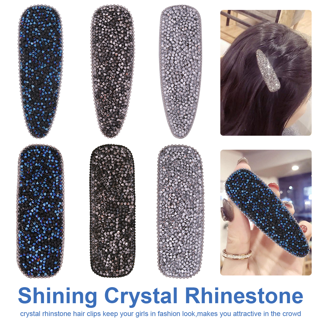 Fashion Luxury Rhinestones Hair Clips Hairpin Hair Accessories for Women Headwear decoration in Women 39 s Hair Accessories from Apparel Accessories