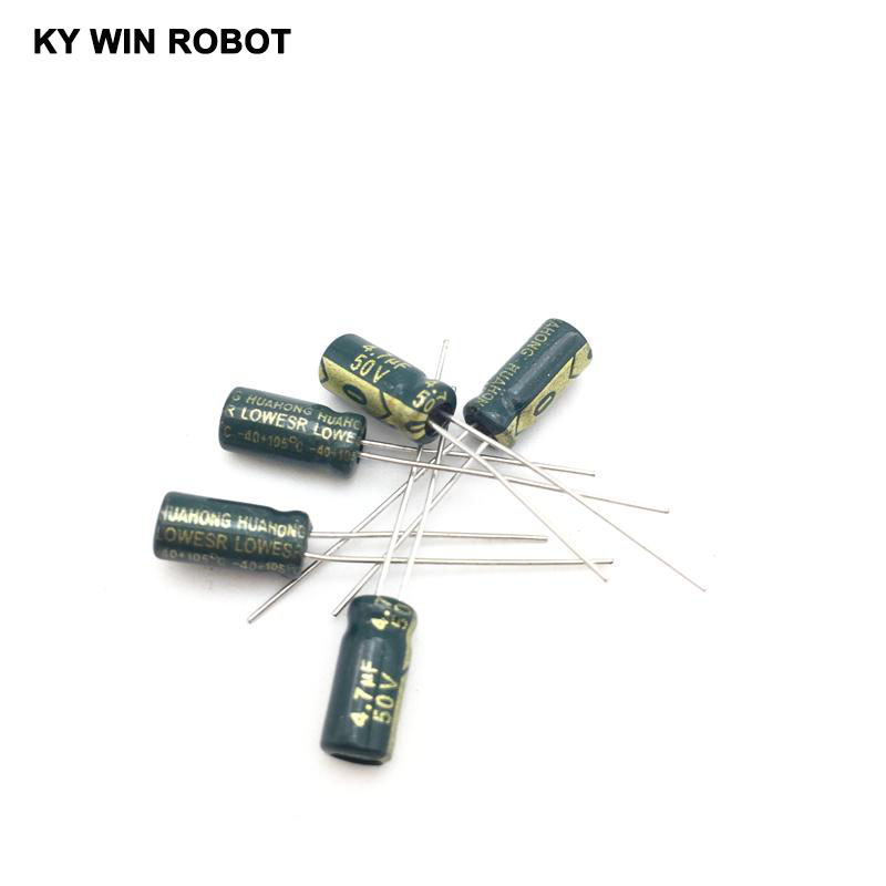 Image 4 - 50pcs/lot 4.7UF 50V 105C 5X11mm Aluminum Electrolytic Capacitor 50V4.7UF radial lead 50pcs-in Capacitors from Electronic Components & Supplies