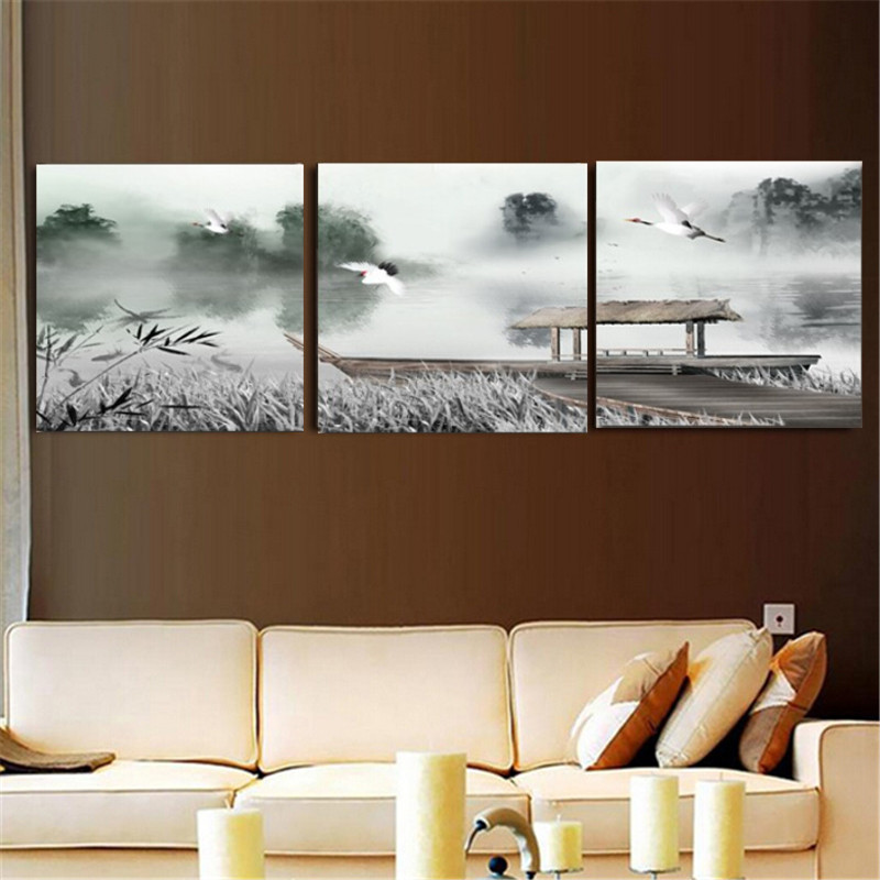 canvas schilderij chinese schilderen voor woonkamer muur thuis slaapkamer decoratie 3 stuk canvas wall art muurstickers decor in canvas schilderij chinese