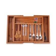 Бамбук Регулируемый коробка для хранения для всякой всячины дерево Столовая Посуда Организатор Multi-Применение Домашний Декор ящика Кухня держатели для посуды ZA4653