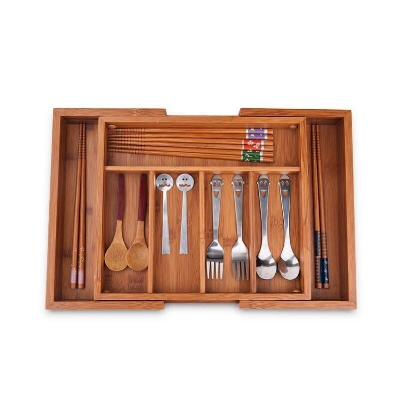 Boîte de rangement réglable en bambou pour articles divers organisateur de vaisselle en bois multi-usage décor à la maison tiroir porte-ustensiles de cuisine ZA4653