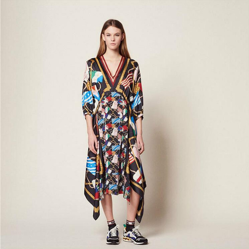 2019 New Women Bohemian Dress Half Sleeve V Neck Print Asymmetrical Long Dress