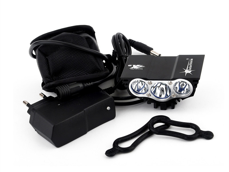Free shipping 6000 Lumens 3x XML U2 LED Front Bike Bicycle Light + 8.4V Rechargeable Battery Pack+Charger lumens
