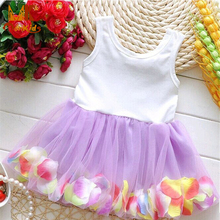 MK 2016 Hot Sales Baby Girls Cute Dresses Lace Flower Blooms Bowknot Tulle Kids Baby Girl Dress Children Girls Clothing