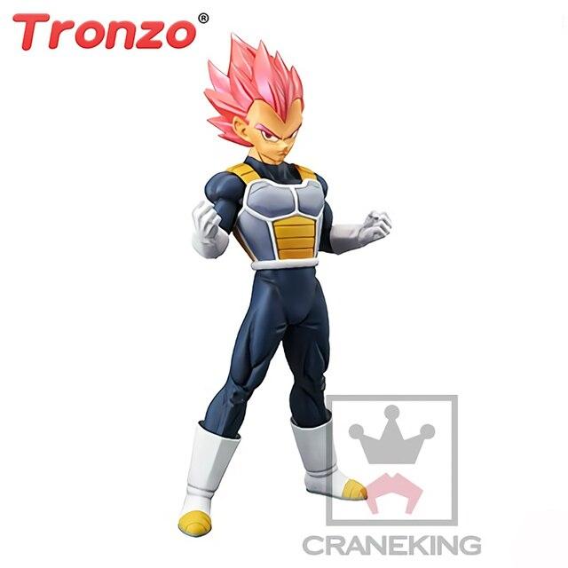Tronzo Original Banpresto Vegeta Action Figure Dragon Ball Super Saiyan Deus Cabelo Vermelho Brinquedos Estatueta PVC Modelo Figura SSJ em estoque
