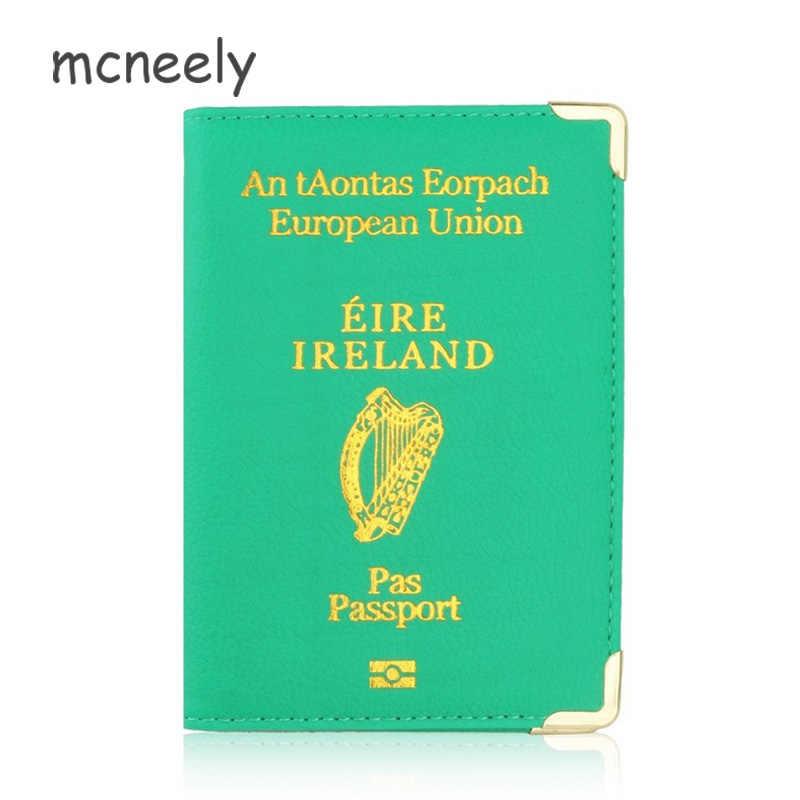 Ierland Leather Case Voor Paspoort Bescherming Case Leuke Vrouwen Reizen Document Organizer Voor Ierland Paspoort Cover Reizen Portemonnee