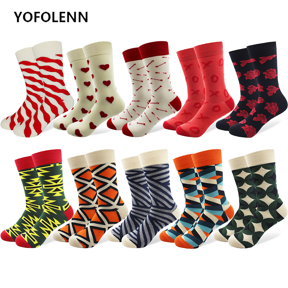 10 Pairs/lot Mens Combed Cotton Socks Multi Pattern Long Cool Novelty Long Tube Skateboard Socks Happy Funny Crew Socks Crazy