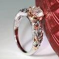 Queen brilliance 1 ct f color de compromiso moissanite diamante anillo Con Acentos de Diamante Sólido 14 K 585 Rosa Blanca Real oro