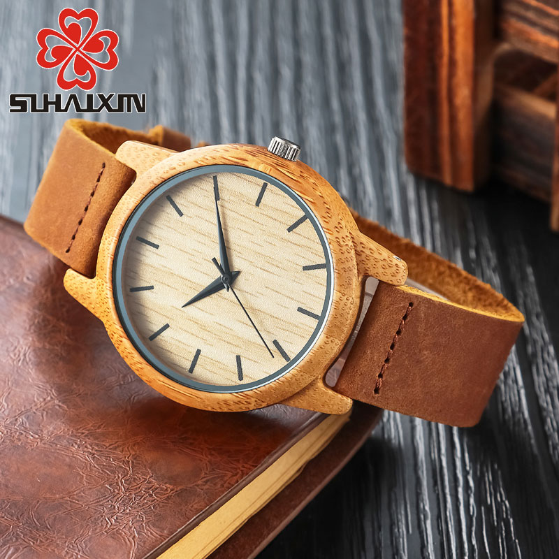 Watches Wooden Women Men Vintage Leather Quartz Wristwatch Bamboo Color DressWatch Light Weight Clock New Luxury Wood Wristwatch classic sandalwood bracelet watches vintage fashion women men creative quartz wristwatch analog wooden bamboo handmade clock new