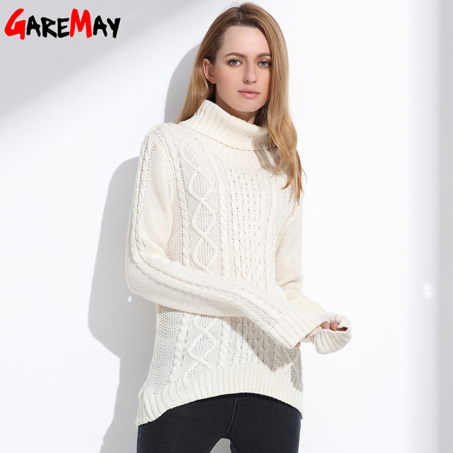 Women Turtleneck Sweater Retro Argyle Tops Vintage Geometric Ladies Pullover White Pull Femme Winter Casual Sweater GAREMAY 7025