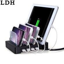 LDH 4 Порты Рабочего USB Зарядное Устройство Многофункциональный USB Зарядки Док-Станция с Подставкой Держатель Для Мобильного Телефона Tablet ПК