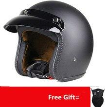 Матовый Черный винтажный мотоциклетный шлем Ретро мото велосипед Мотоцикл Скутер Лето Половина шлемы мотоциклетный шлем S 55-56 см до XXL