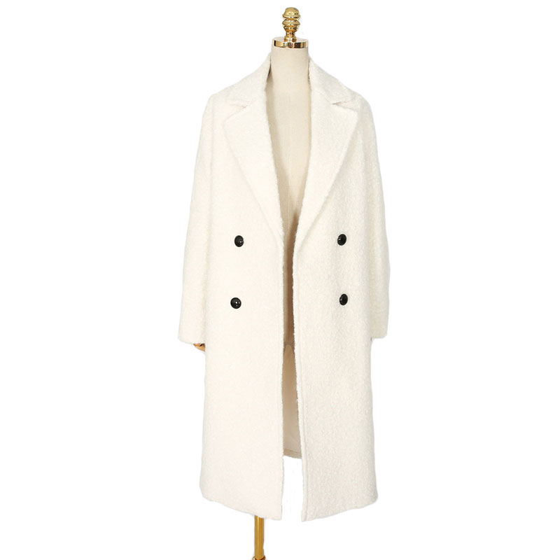 Abrigos mujer New 2017 Women Spring Winter Simple White Long Coat Female   Parka   Notched Thick Elegant Holiday Overcoat Casacos