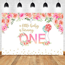 NeoBack Baby 1th Birthday Photography Backdrops Pink Watercolor Flower Background Balloon Vinyl Dessert Table Decorate Props