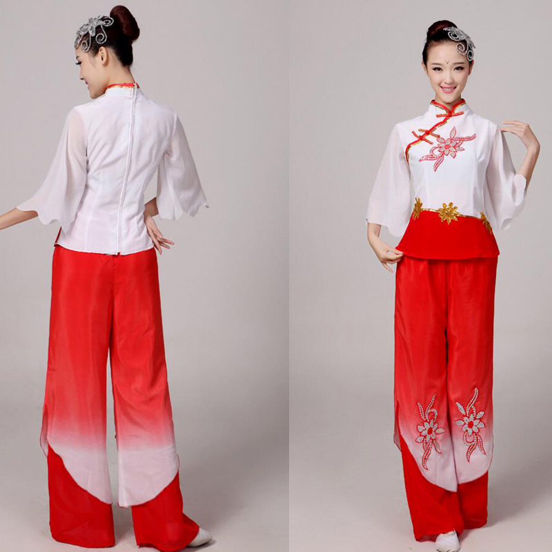 0246154ee Lady Modern chinese folk dance costume younger dance costume women's drum  dance performance wear fan dance clothes Outfits-in Chinese Folk Dance from  ...