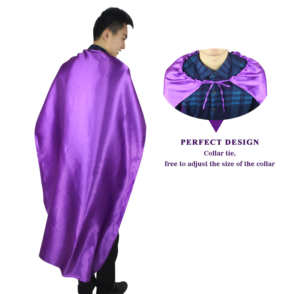 SPECIAL L 55* Adult Plain Superhero Costume Purple Cape And Mask Decoration Halloween Cos-Play Carnival Party Costumes Outfit