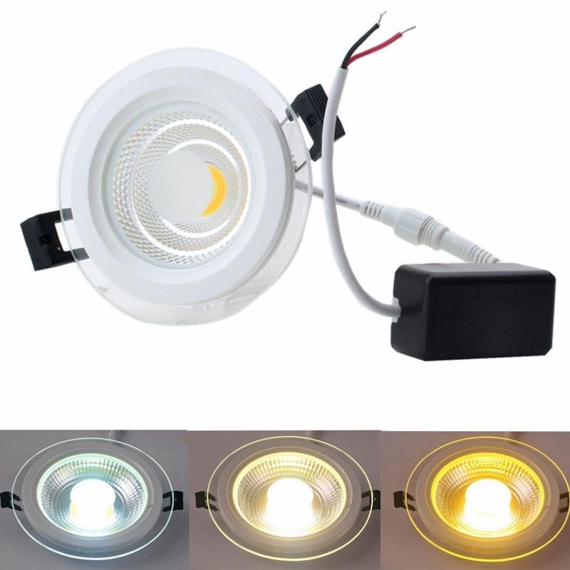 Super Bright LED COB Downlight 25W Glass LED Panel Light Recessed Ceiling Spot Bulb Light AC85