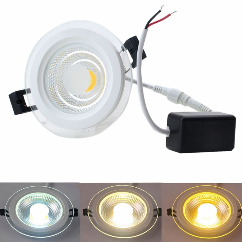 Super Bright LED COB Downlight 25W Glass LED Panel Light Recessed Ceiling Spot Bulb Light AC85 265V Indoor Lighting Lamp-in Downlights from Lights & Lighting    1