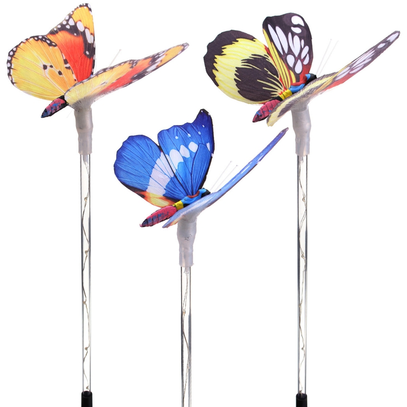 Color Change 3Pcs Waterproof Solar Powered Butterfly Outdoor LED Garden Light Stake Outdoor Landscape Path LED Lawn Light