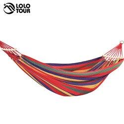 250*150 cm 2 personas al aire libre bolsa de Camping hamaca doble palo de madera constante Hamak Columpio de jardín silla colgante Hangmat azul Rojo